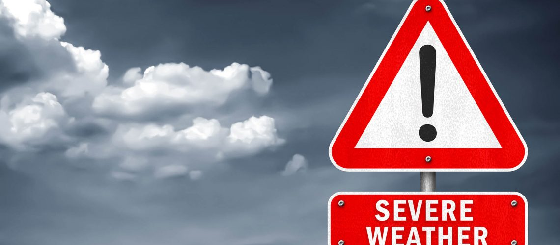 Severe Weather - road sign warning